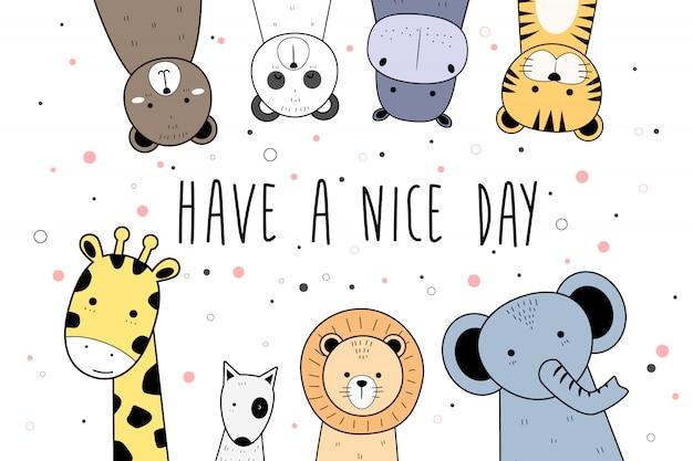 Słodkie zwierzęta kreskówka doodle transparent tło tapeta