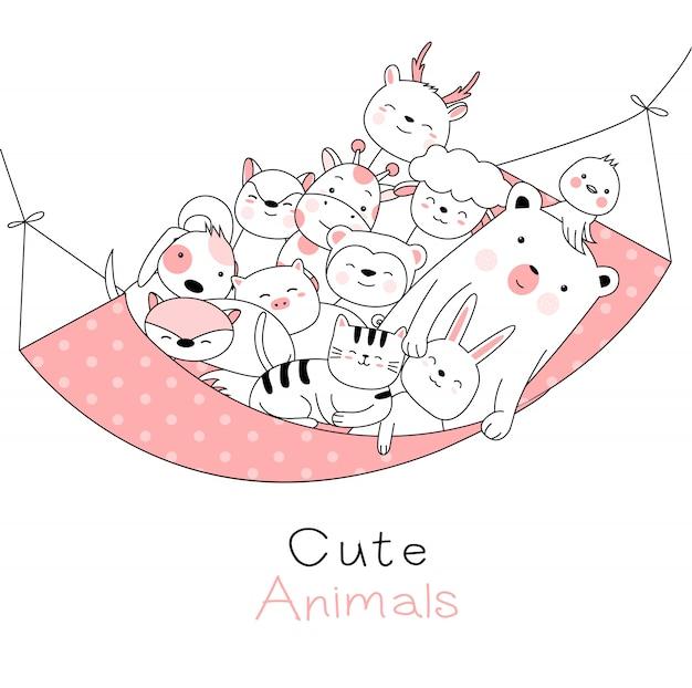 Słodkie zwierzęta kreskówka ręcznie rysowane stylu