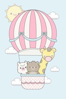 Słodkie zwierzęta latające z balonem