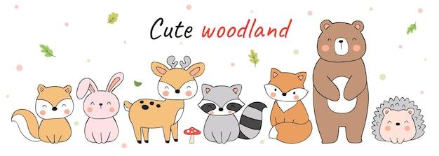 Słodkie zwierzęta leśne doodle cartoon