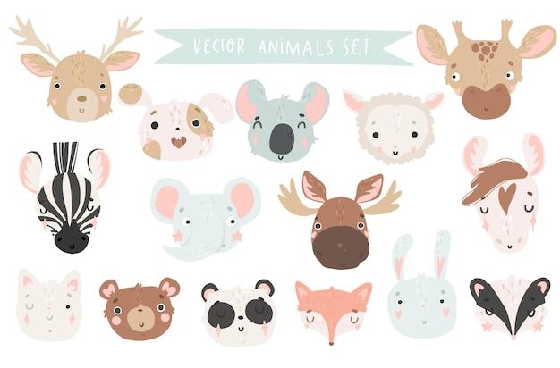 Słodkie zwierzęta na białym tle ilustracja dla dzieci grafika wektorowa