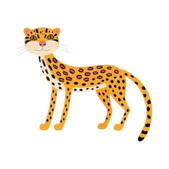 Słodkie zwierzęta ocelot. dziki kot kreskówka na białym tle. afrykańska przyroda zwierząt