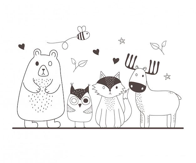 Słodkie zwierzęta szkic kreskówka urocza niedźwiedź sowa lis reniferów i latające pszczoły