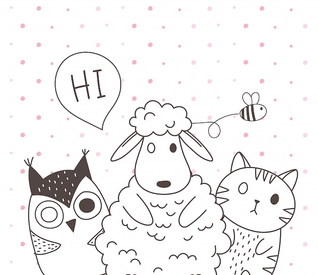 Słodkie zwierzęta szkic kreskówka urocza owca kot i sowa