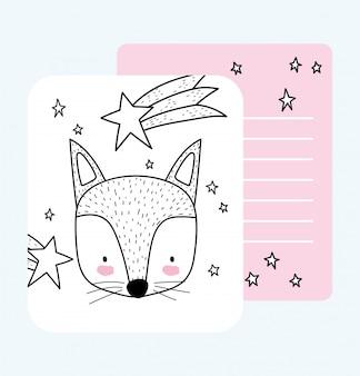 Słodkie zwierzęta szkic przyrody kreskówka urocza lis twarz spadająca gwiazda karty
