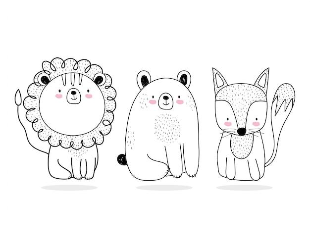 Słodkie zwierzęta szkic przyrody kreskówka urocza niedźwiedź lwa i lisa