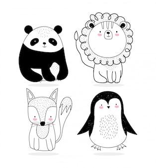 Słodkie zwierzęta szkic przyrody kreskówka urocza panda lwa lisa i pingwina