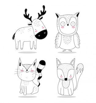 Słodkie zwierzęta szkic przyrody kreskówka urocza sowa lis i wiewiórka