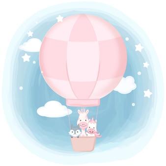 Słodkie zwierzęta unoszące się na ręcznie rysowane balonem