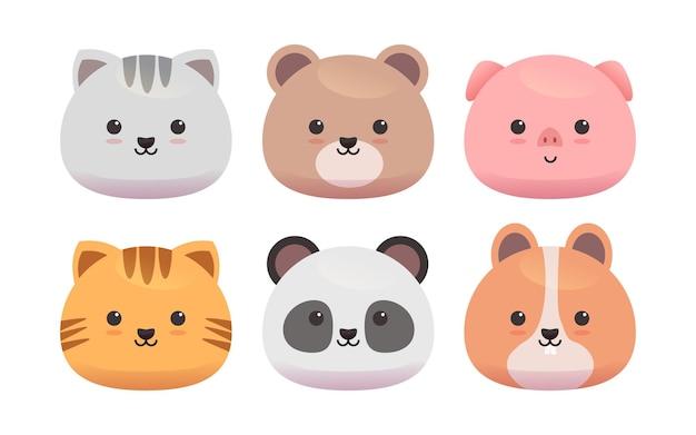 Słodkie zwierzęta uśmiechnięte twarzą
