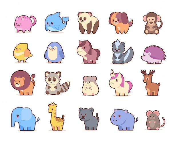 Słodkie zwierzęta ustawić komiks postaci z kreskówek