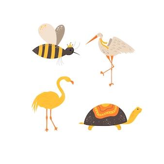 Słodkie zwierzęta w skandynawskim stylu. ilustracja wektorowa rysunek ręka.
