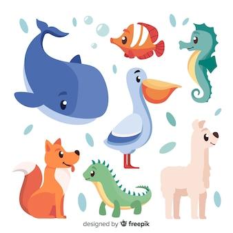 Słodkie zwierzęta w stylu dziecięcym