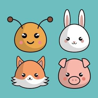 Słodkie zwierzęta w stylu kawaii