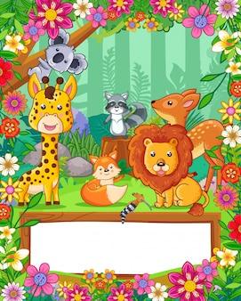 Słodkie zwierzęta z kwiatami i pusty znak drewna w lesie. wektor