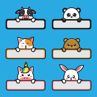 Słodkie zwierzęta z nazwą etykiety ilustracja kreskówka cartoon