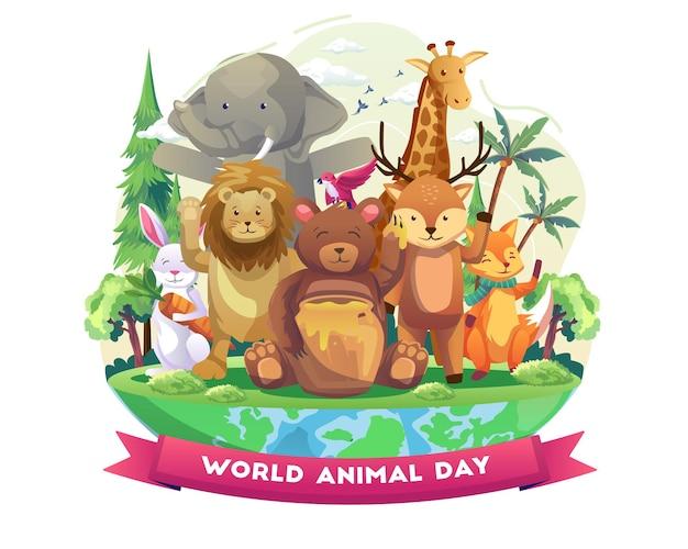 Słodkie zwierzęta z radością witają światowy dzień zwierząt szczęśliwie świętuj dzień dzikiej przyrody ilustracja wektorowa