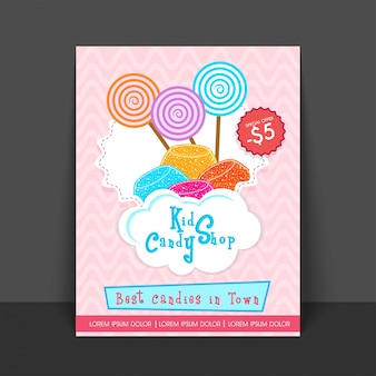 Słodycze cukierek plakat ulotki dla dzieci