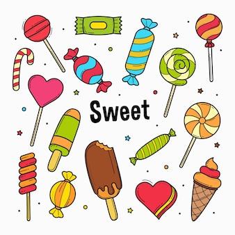 Słodycze cukierki doodle z kolorem wypełnienia na białym tle