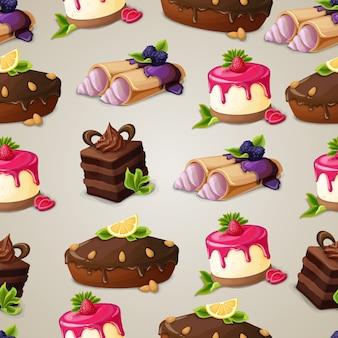 Słodycze deser bezszwowych wzór