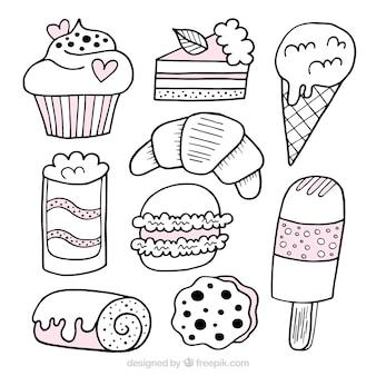 Słodycze desery kolekcja w stylu wyciągnąć rękę