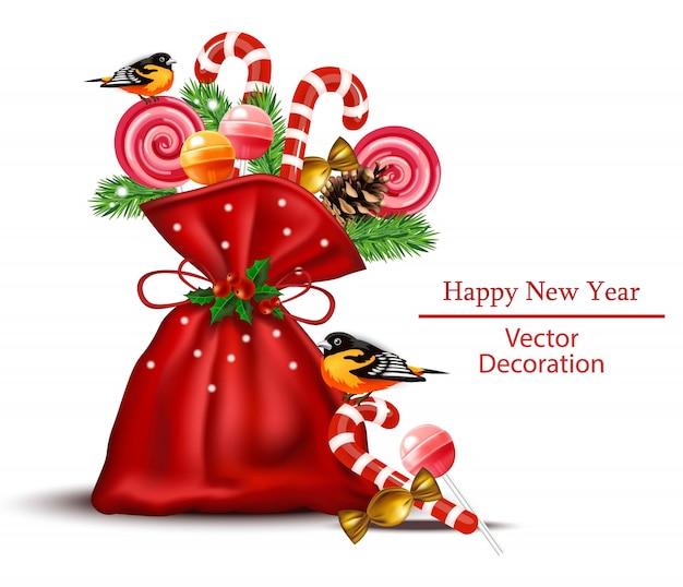 Słodycze i cukierki w czerwonej torbie realistyczne. szczęśliwego nowego roku wakacje karty tła