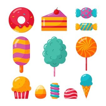 Słodycze i deserowe ikony ustawiać odizolowywać na białym tle.