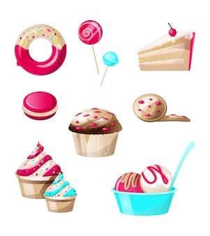 Słodycze i słodycze cukierki zestaw na białym tle