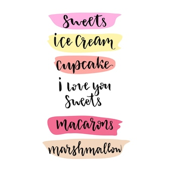 Słodycze napis wektor element projektu. wektor ręcznie rysowane napis dla słodkich sklepu lub dekoracji menu