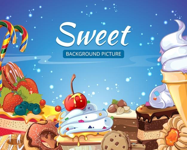 Słodycze streszczenie tło cukierki, ciasta, pączki i lizaki. deser czekoladowy i lody, smaczne ciastko, ilustracji wektorowych