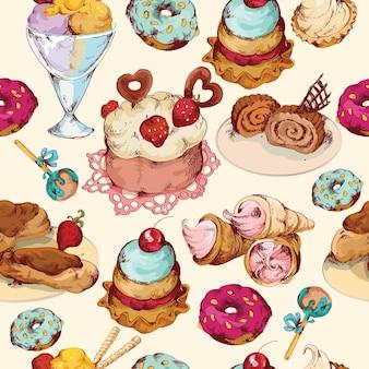 Słodycze szkic kolorowe bezszwowe wzór