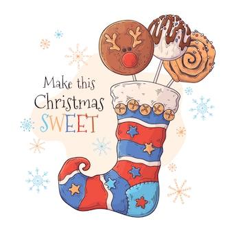 Słodycze w świątecznej skarpecie