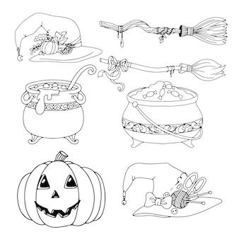 Słodycze. zestaw przedmiotów na halloween. kolorowanie. ponure gryzmoły. ilustracja wektorowa na białym tle