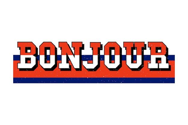Slogan bonjour fraza graficzna drukuj moda napis kaligrafia
