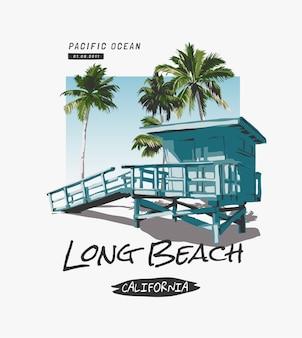 Slogan długiej plaży z chatką przy plaży i ilustracją palm