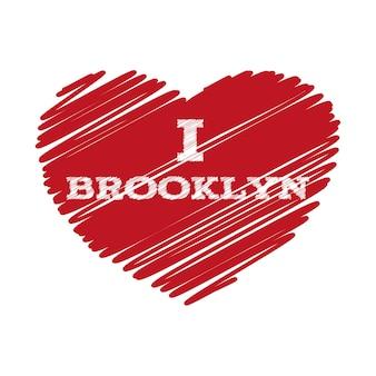 Slogan - kocham brooklyn. ilustracja wektorowa eps 10 dla swojego projektu.