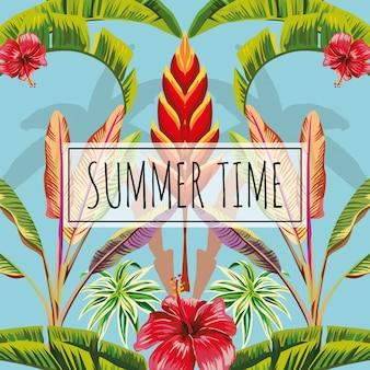 Slogan lato czas opuszcza i kwitnie błękitnego tło