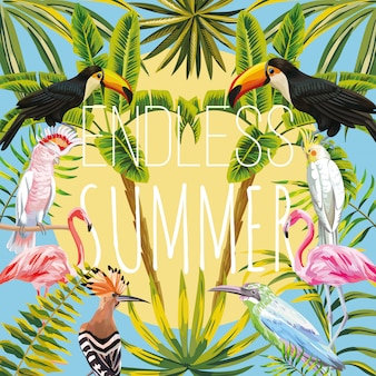 Slogan niekończące się lato na tukan tropikalnych ptaków, papuga, dudek, różowe flamingo palmy bananowe i liście niebo słońce. ciepły letni dzień wektor