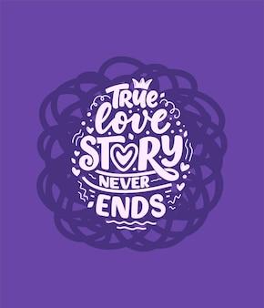Slogan o miłości w stylu kaligrafii