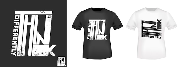 Slogan - think inaczej - dotyczy nadruków na koszulkach, aplikacji na koszulkach, sloganów modowych, naszywek, etykiet, dżinsów i odzieży codziennej. ilustracji wektorowych
