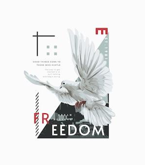 Slogan typografii z latającą gołębicą ilustracją