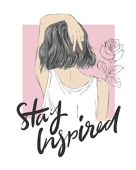 Slogan z dziewczyną ilustracji