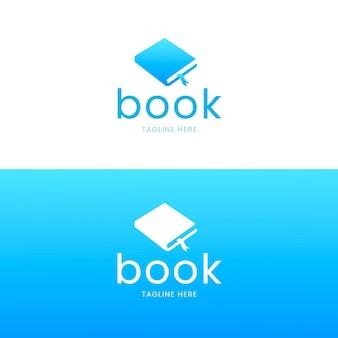 Slogan z logo książki z gradientem tutaj