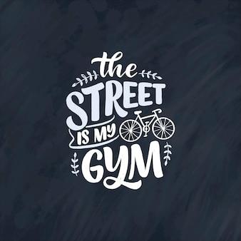 Slogan z napisem na temat roweru na plakat, nadruk i projekt koszulki.