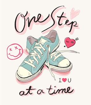 Slogan z pastelową sneaker ilustracją