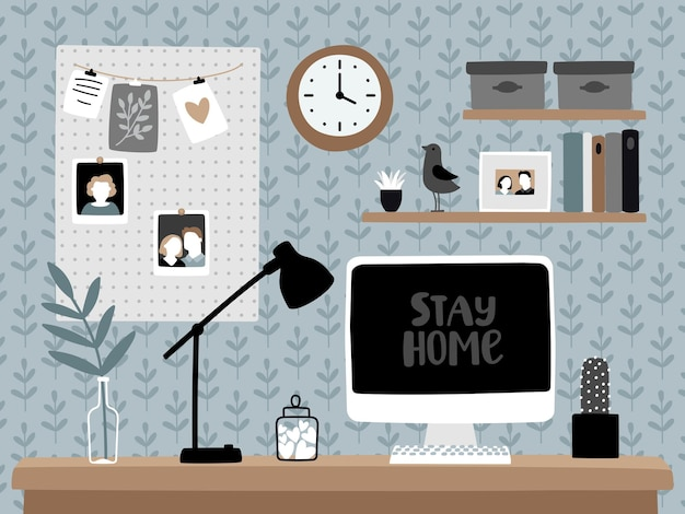 Slogan zostań w domu. ekran główny laptopa, rodzinna ramka, kwiatek i lampka
