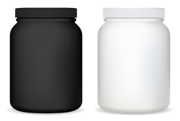 Słoik białka pusta biała plastikowa butelka suplementu