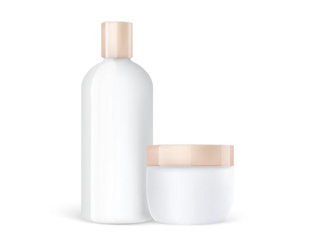Słoik do pielęgnacji kosmetyków i plastikowa butelka szamponu ze złotymi nasadkami