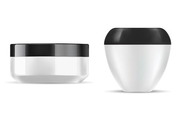 Słoik kremowy biały plastik do ilustracji pojemnika kosmetycznego