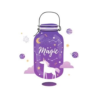 Słoik magii. śliczny magiczny jednorożec